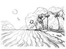 Playa y palmeras exhaustas del paraíso del verano de la mano en la costa ilustración del vector