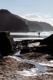 Playa y rocas de Perranporth Imagen de archivo