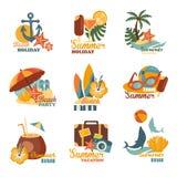 Playa y sistema de etiquetas del verano Fotografía de archivo libre de regalías