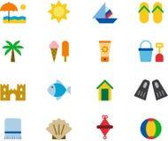 Playa y sistema del icono del verano Fotos de archivo