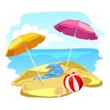 Playa y sombrillas Foto de archivo
