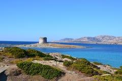 Playa y torre de Pelosa del La en Cerdeña, Italia Fotos de archivo