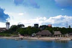 Playa y transbordador Imágenes de archivo libres de regalías