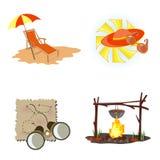 Playa, yendo de excursión en los símbolos Imágenes de archivo libres de regalías
