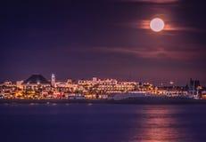 Playablanca bij nacht stock foto's