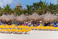 Playacar beach at Caribbean Sea in Mexico Royalty Free Stock Photo