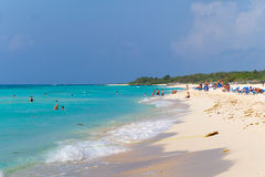 Playacar beach at Caribbean Sea in Mexico Royalty Free Stock Photos