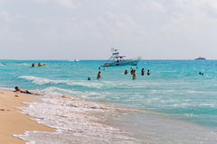 Playacar beach at Caribbean Sea in Mexico Stock Photography