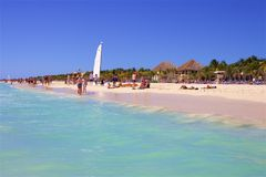 Playa del Carmen beach, Mexico. Playacar and Playa del Carmen beach, Mexico Stock Photo