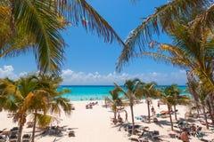 Playacar strand på det karibiska havet i Mexico Arkivbild