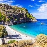 Playas asombrosas de las islas griegas Karpathos imagenes de archivo