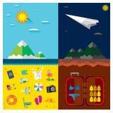 Playas de la noche y del día del mar del viaje, montañas, nubes, aeroplano ilustración del vector