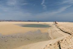 Playas de Sotavento, Fuerteventura, editorial. FUERTEVENTURA - OCTOBER 23: The famous lagoon at Playas de Sotavento, Fuerteventura during low tide on October 23 Royalty Free Stock Image