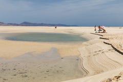 Playas de Sotavento, Fuerteventura, editorial. FUERTEVENTURA - OCTOBER 23: The famous lagoon at Playas de Sotavento, Fuerteventura during low tide on October 23 Stock Photo