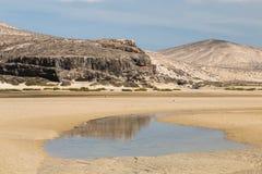 Playas de Sotavento, Fuerteventura. The famous lagoon at Playas de Sotavento, Fuerteventura during low tide Royalty Free Stock Image