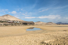 Playas de Sotavento, Fuerteventura. The famous lagoon at Playas de Sotavento, Fuerteventura during low tide royalty free stock photography