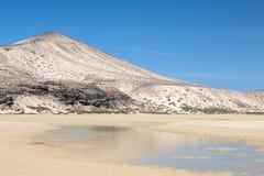 Playas de Sotavento, Fuerteventura. The famous lagoon at Playas de Sotavento, Fuerteventura during low tide Stock Photography