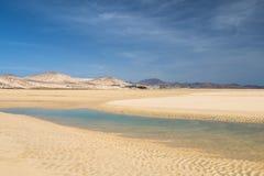 Playas de Sotavento, Fuerteventura. The famous lagoon at Playas de Sotavento, Fuerteventura during low tide Stock Image