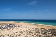 Playas de Sotavento, Fuerteventura. Parking lot and the famous lagoon in Risco El Paso at Playas de Sotavento, Fuerteventura royalty free stock image