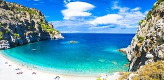 Playas hermosas de Grecia - Apella, isla de Karpathos Foto de archivo libre de regalías
