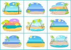 Playas tropicales con el mar azul y las palmas altas ilustración del vector