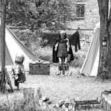 Playback of a medieval camp. Black and white photo Royalty Free Stock Photography