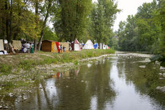 Playback of a medieval camp. Color image Royalty Free Stock Images