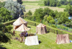 Playback of a medieval camp. Color image Stock Photos
