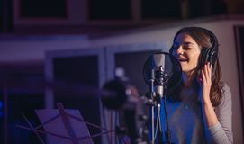 Playback singer recording album in the studio Stock Images