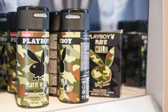 Playboy deodorant. S in a store - focus on the left, copy space to the right Royalty Free Stock Photo