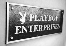 Playboy Enterprises. Sign on the bulding PLAYBOY ENTERPISES, Manhattan, New York,US. Photo taken on Dec 12th,2010 Royalty Free Stock Photo