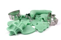 Playdough cookies. Shapes cut out of playdough by a child Royalty Free Stock Images
