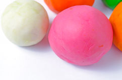 Playdoughballen op wit Royalty-vrije Stock Afbeelding