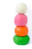 Playdoughballen op wit Stock Fotografie
