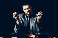 Player emocional do pôquer das estacas altas Imagem de Stock