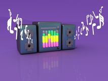 Player. Render tape recorder on a violet background Stock Photos