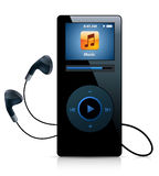 Player. Black music player with headphones Stock Photos