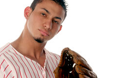 Player. Baseball player holds up his glove Stock Photography