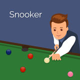 The player billiards. Man aim to make an impact on the ball. The game of snooker.  royalty free illustration