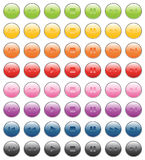 Player bottons. Green, yellow, orange, red, pink, purple, blue, gray, black colors Stock Image