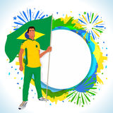 Player with Brazilian Flag for Sports concept. Royalty Free Stock Images