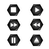 Player Button. That decorate in polygon shape Stock Images