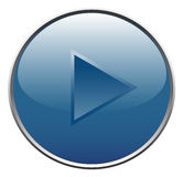 Player button. Blue player button. Vector illustration Stock Photography
