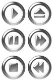 Player Button Symbols. Silver player control buttons vector illustration
