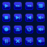 Player buttons. 16 different buttons for media player Stock Photo