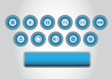 Player buttons. 12 blue buttons for media players Stock Photography
