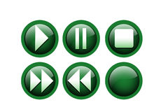 Player buttons. Play buttons on isolated background Stock Images