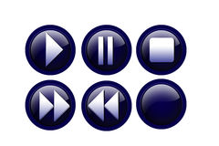 Player buttons. Play buttons on isolated background Royalty Free Stock Photos