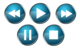 Player Buttons Blue. Shiny blue player buttons isolated on white background Stock Photos
