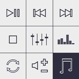 Player buttons icons. Set of icons on a theme Player buttons Stock Photo